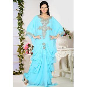 Divine Blue Color Embroidered Islamic Kaftans-FINAL SALE