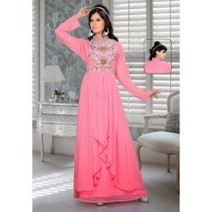 Pink color Saudi Kaftan-Georgette Designer Kaftan-FINAL SALE