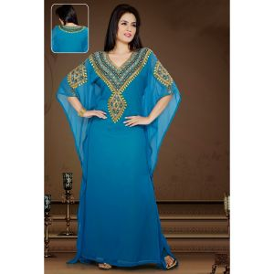 Majesty Blue Color Faux Georgette Embroidered Kaftan