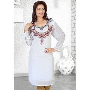 Affinity Off White Color Fashionable Short Kaftan