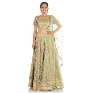 Green color Designer Lehnga Choli-Silk Lehenga Choli-Final Sale