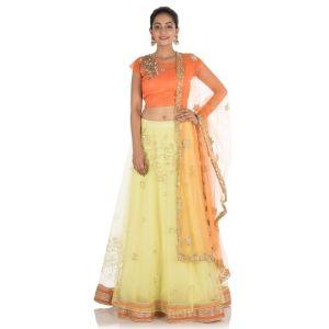 Yellow And Orange color Designer Lehnga Choli-Silk Lehenga Choli-Final Sale