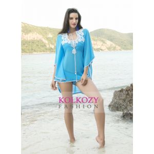 Peral Work Blue Color Hand Beaded Bikini with cover up