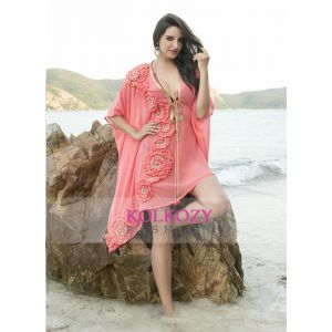 Peach and Maroon Color Georgatte Embroidered Bikini with cover ups