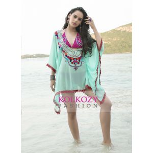 Mint Green and Pink Color Embroidered Cover Up