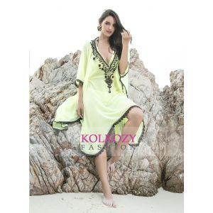 Lammon Yellow Color Beaded Bikini Cover Ups