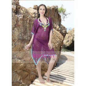 Violet Color Peral Work Bathing Suit Cover Ups Dress