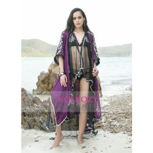 Embroidery Work Violet and Black Color Sexy Beach Cover Ups