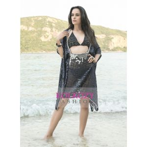 Gray Color Hand Beaded Cover Ups