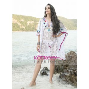 White and Pink Color Peral Work Free Size Cover Ups