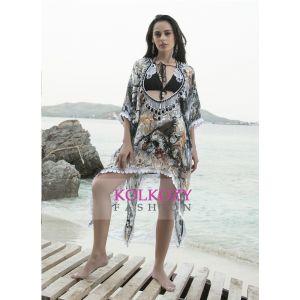 Multi and Black color Digital print hand beaded bikini