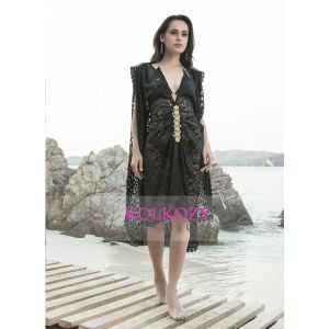 Black Color Embroidered Cover Up