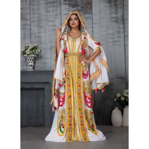 Designer Handmade Arabic Moroccan Long Sleeve Wedding Caftan With Veil