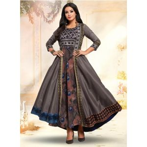 Thread Work Grey Color Occasion Gown