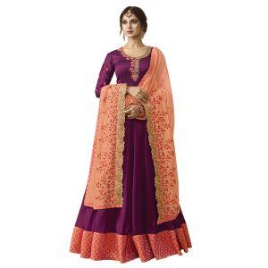 Dazzling Wine Anarkali salwar suit