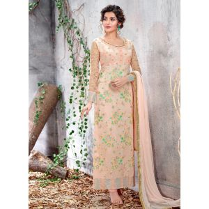 Embroidery Light Butterscoth Churidar Suit