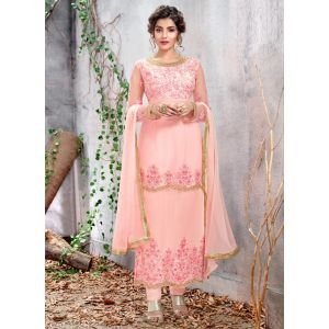 Ashentic Baby Pink Color Churidar Suit