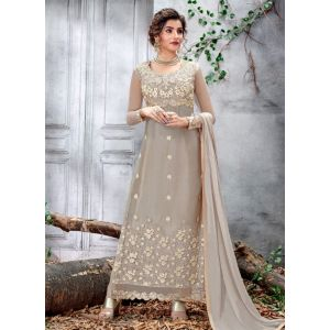 Light Grey Medolic Churidar salwar Suit