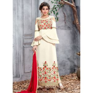 Off White Designer Churidar salwar Suit