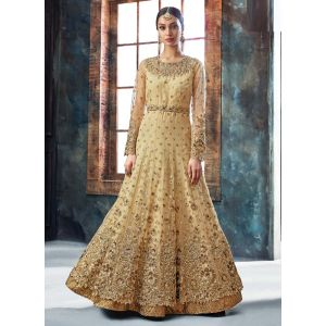 Stylish Designer Beige Color Anarkali Suit