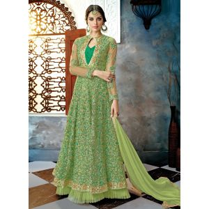 Net Olive Green Color Anarkali Salwar Suit