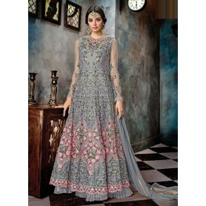 Grey Color Embroidered Anarkali salwar suit