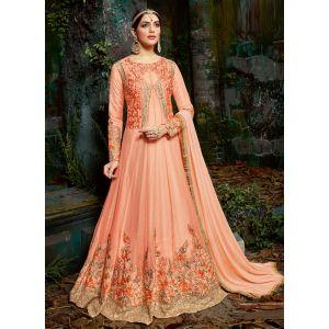 Blossom Georgette Light Orange Anarkali Suit
