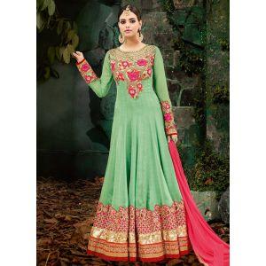 Exclusive Green Color Anarkali salwar kameez