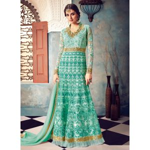 Melodic Aqua Green Abaya Suit Gown