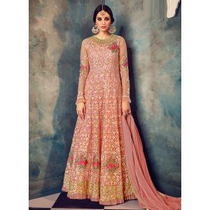 Magnificient Light Pink Net Gown