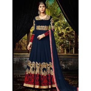 Designer Embroidery salwar kameez in Navy Blue