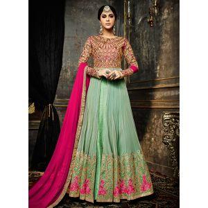 Georgette Light Green Color Anarkali Suit