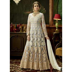 Designer White Color Anarkali salwar kameez