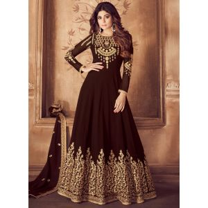 Party Wear Brown Designer Salwar Suit
