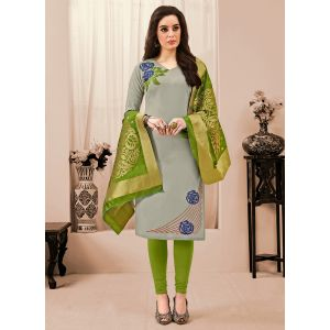Exceptional Grey Embroidery Salwar Suit