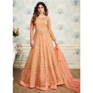 Orange Color Butterfly Net Anarkali Suit