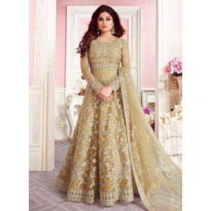 Beige Color Butterfly Net Anarkali Suit
