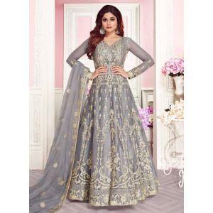Grey Color Butterfly Net Anarkali Suit