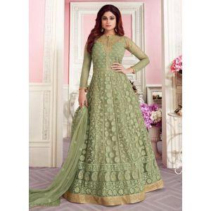 Green Color Butterfly Net Anarkali Suit