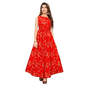 Splendorous Red Poly Crepe Gown