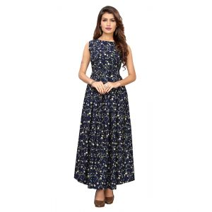 Charmer Navy Blue Printed Gown