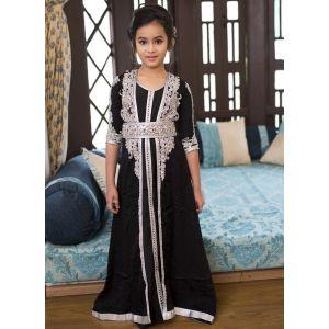 Black  Designer Handmade Moroccan Style Kids Caftan