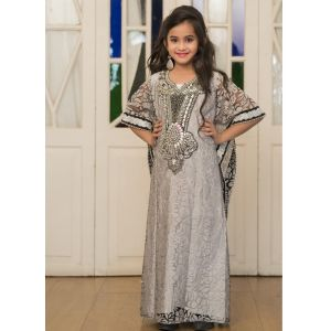 Gray Handmade Designer Kaftan For Girl