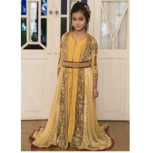 Beige and Golden Yellow Moroccan Style Kids Caftan