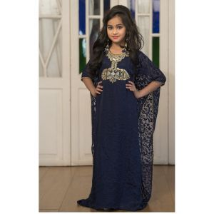 Dark Blue Hand Beaded Kids Kaftan