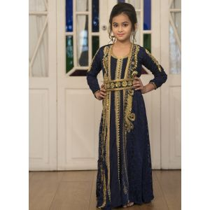 Blue Party Wear Full Sleeve Gold Beading Kaftan