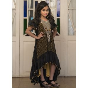 Kids Black and Yellow Partywear Maxi Dress