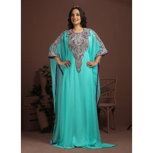 Dazzling Blue Color Fashionable Hand Made Kaftan - One Size