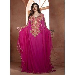 Pink color designer Hand beaded  DUBAI Ladies Long Sleeve Moroccan Party Wedding  kaftan