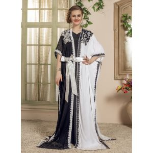 Woman White and Black Kaftan Saudi Arabic Style